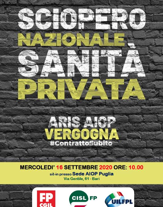IL 16 SETTEMBRE I LAVORATORI DELLA SANITÀ PRIVATA SCIOPERANO CONTRO AIOP – C.S. del 15/09/2020